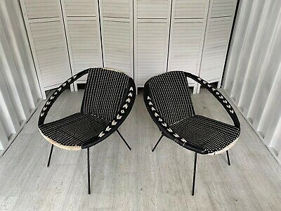 Vintage Woven Chairs Mid Century Retro Industrial