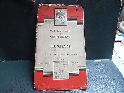 "vintage 1940s one inch paper O/S map nr77 ""Hexham"""