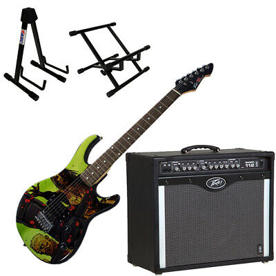 Peavey Bandit 112 Amp and Walking Dead Riot Guitar with Amp and Guitar Stands
