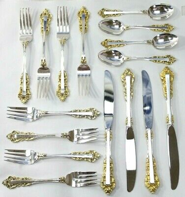 GORHAM MEDICI Sterling Silver 4-Person Setting: Dinner/Salad Forks, Knife, Spoon