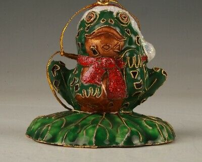 Chinese Cloisonne Hand Carving Cute Frog Figurines Statue Pendant Collection