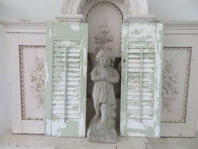 2 FABULOUS Old Vintage ARCHITECTURAL SHUTTERS Chippy WHITE & SOFT GREEN Paint