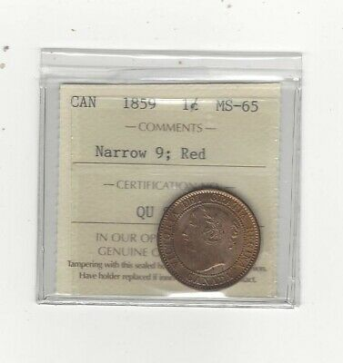1859 N9  ICCS Graded Canadian, Large One Cent, MS-65