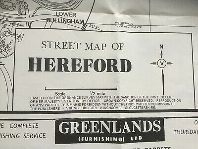 "1970's Vintage: Street Map of HEREFORD 14""x14"" Frameable Double sided with index"