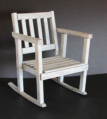 """Child's / Display Rocking Chair Vintage Wood Shabby Shaker Style 17.25"""" FREE SH"""