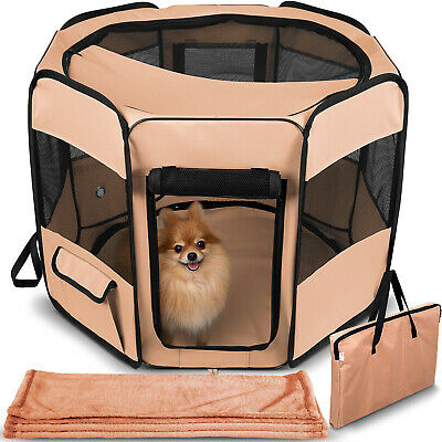 Dog Playpen Mesh Portable Tent Exercise Crate Kennel Cage for Pet Cat w/ Blanket