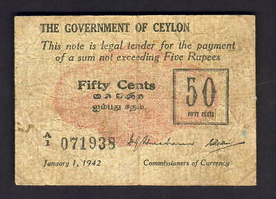 Ceylon P-41. 1942 Fifty Cents..  VG-F