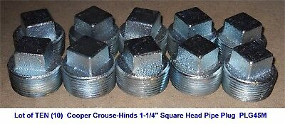 """Lot of TEN (10) Cooper Crouse-Hinds 1-1/4"""" SQUARE HEAD PIPE PLUG - PLG45M - USA"""