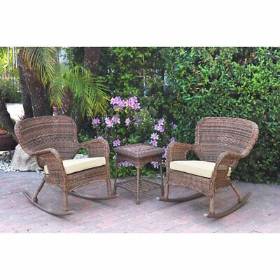 Windsor Honey Wicker Rocker Chair And End Table Set With Chair Cushion
