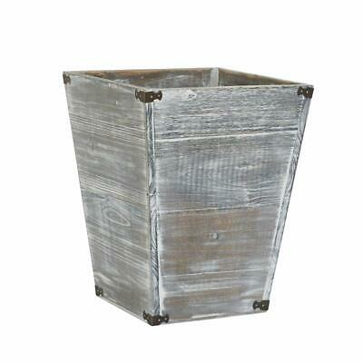 Farmhouse Style Torched Wood Square Waste Bin with Decorative Metal Brackets Tra