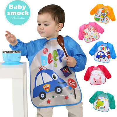 5PCS Baby Kid Feeding Bibs With Long Sleeve Plastic Feeding Smock Apron Cartoon
