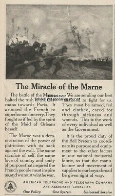 1918 Bell American Telephone and Telegraph Co WWI Battle of the Marne AT&T Ad