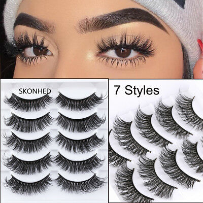 5 Pairs 3D Faux Mink Hair False Eyelashes Extension Wispy Fluffy Think Lashes Dw