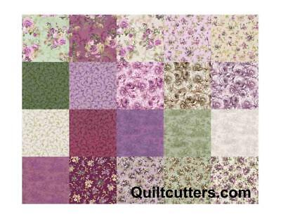 Merideth Mauve Purple Floral Quilt Fabric Rose Shabby 20 Fat Quarters and Panels