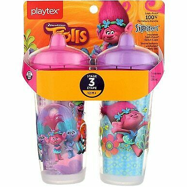 2 Pack Playtex Sipsters Spout Cup, Stage 3, Trolls, 9 oz, 2 Ct