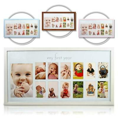 Baby's First Year Frame in Elegant White Natural Wood - My Baby Picture for...