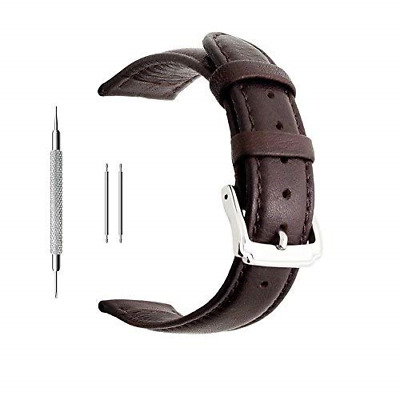 Berfine 20mm Dark Brown Calf Leather Watch Band Replacement,Extra Soft Watch for