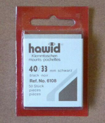 HAWID STAMP MOUNTS BLACK Pack of 50 Individual 40mm x 33mm - Ref. No. 6108