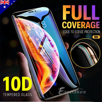 Apple iPhone XS Max XR X 8 7 Plus 10D Tempered Glass Screen Protector Full Cover