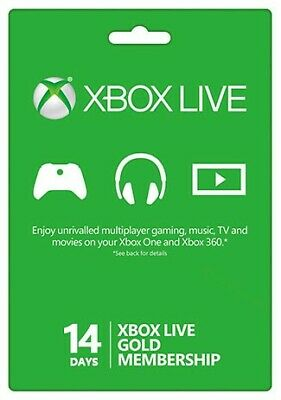 Microsoft Xbox Live 14 Day Gold Trial Code Instant Delivery