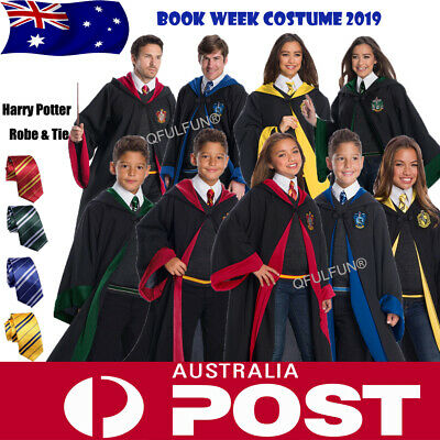 Harry Potter Hogwarts Robe Costumes Adult Kids Wizard Cape Cloak With Tie