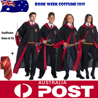 Harry Potter Costume Robes Hermione Granger Gryffindor Cape Cloak &Tie