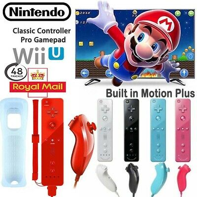 Built in Motion Plus Remote + Nunchuck Controller + Case for Nintendo Wii SET .
