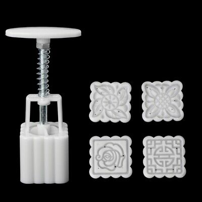 5Pcs Stamps 50g Square Flower Moon Cake Mould Mold Pastry Mooncake Hand DIY Tool