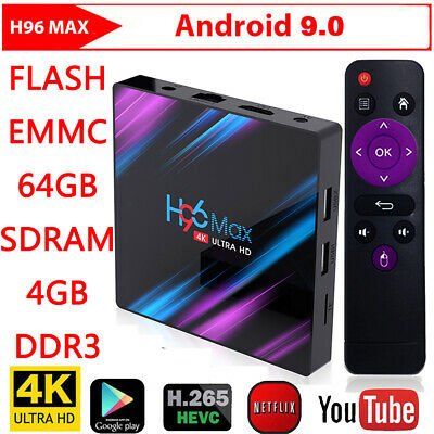 2019 H96 MAX RK3318 Android 9.0 4G+64GB Quad Core 4K Smart BT 4.0 Top LED TV Box