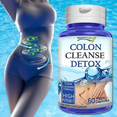 60 Capsules COLON CLEANSE DETOX Herb Flush Fat Bloat Burn Weight Loss Super Diet