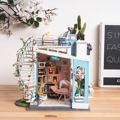 Robotime DIY Miniature Doll House with Furniture Stairs Accessories Gift Girls