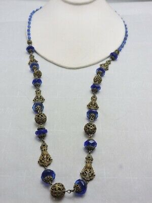 Beautiful Antique Art Deco Amber Color Glass Bead and Brass Filigree Necklace