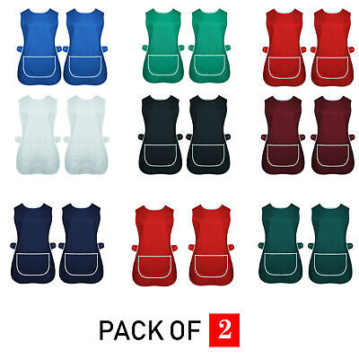 Pack Of 2 Ladies Tabard Apron Kitchen Overall Catering Tabbard Cleaning Pocket