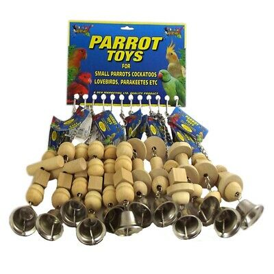Parrot Toys Wooden With Bell Assorted Shapes & Sizes NEW
