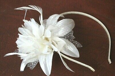 Ivory Cream  Head Alice Band On A Satin Band For Festival Wedding Races Prom