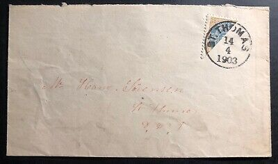 1903 St Thomas Danish West Indies Bisect Stamp Cover Domestic Used