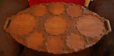 Unique Very Nice Large Hand Carved Wooden Tray w 9 Individual Sections NO Feet