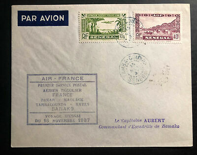 1937 Tamba French Senegal Airmail First Flight Cover FFC to Bamako Air France