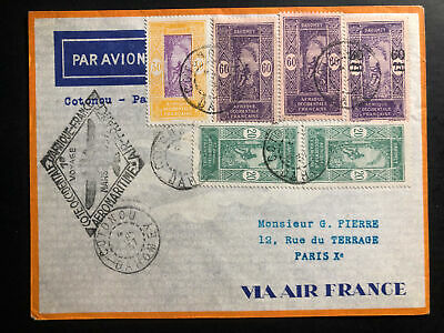 1937Cotonou French Dahomey Airmail First Flight Cover FFC to Paris Air France