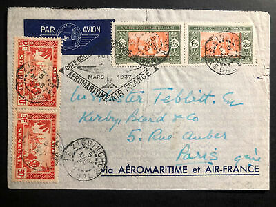 1937 Ziguinchor French Senegal First Flight Cover FFC to Paris Air France