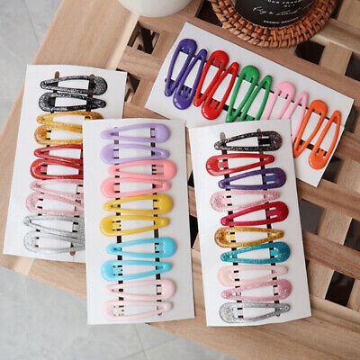 Cute 10Pcs/Set Candy Color Kids Girl Hairpin BB Snap Hair Clips Hair Accessories