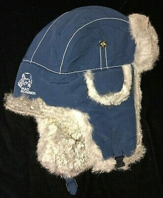 125b4de5 MAD BOMBER mens size XL TRAPPER HAT gray rabbit fur blue EAR FLAPS so soft  WARM