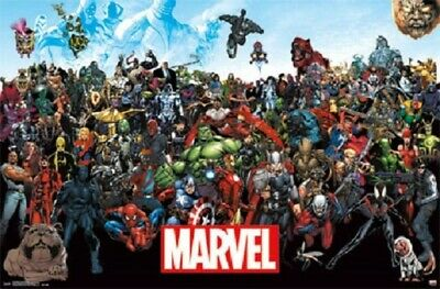 MARVEL SUPER HERO UNIVERSE ALL CHARACTERS POSTER, Size 24x36