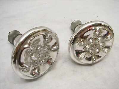 Large Antique Mercury Hand Blown Glass Curtain Tie Back Relief Flowers Decor