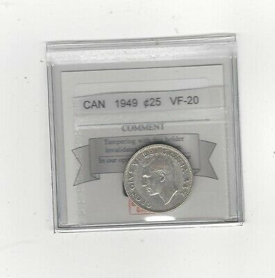 1949 , Coin Mart Graded Canadian, 25 Cent, **VF-20**