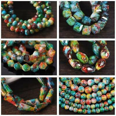 Round/Bicone/Teardrop/Cube Loose Glass Beads lot 6mm~12mm Green&Red&Blue&Yellow