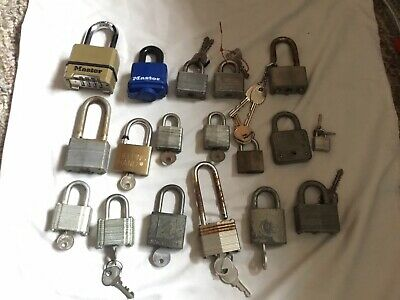 Lot Of 18 Mostly Master Lock Co 1 YALE Padlocks Vintage Many W/keys