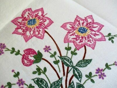 Vintage Tablecloth Hand Embroidered Beautiful Pink Flowers-Linen