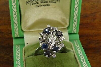Vintage palladium ART DECO ANTIQUE 1920's EMERALD CUT SAPPHIRE DIAMOND ring