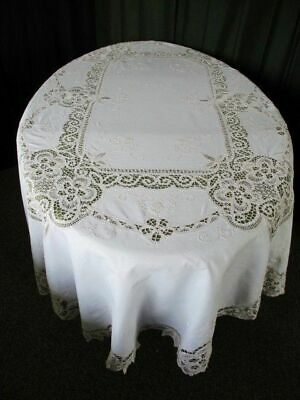 "LARGE OVAL TABLECLOTH-TAPE LACE+HAND EMBROIDERY-62"" x 82""-CREAM"